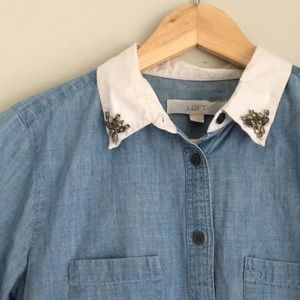 Loft Denim with Neck detail Size Small